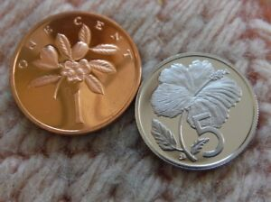 COOK ISLANDS JAMAICA 1974 LOT OF 2 PROOF COINS LOW MINTAGE