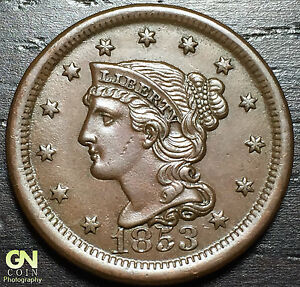 1853 BRAIDED HAIR LARGE CENT  N15 R2      MAKE US AN OFFER   O3014