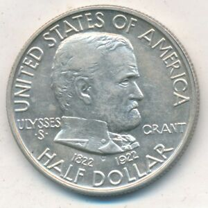 1922 GRANT SILVER COMMEM HALF DOLLAR BEAUTIFUL GENTLY CIRCULATED COIN  FREE SHIP