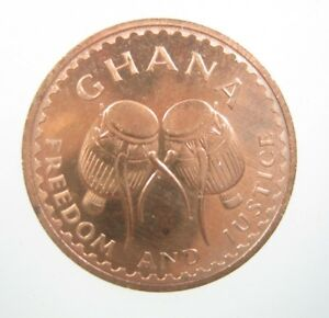 GHANA 1/2 PESEWA 1967 GEM PROOF AFRICAN TRIBAL DRUMS STAR 98 MONEY COIN