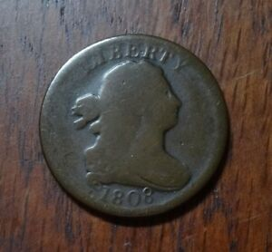 1808 DRAPED BUST HALF CENT     FULLY ROTATED REVERSE