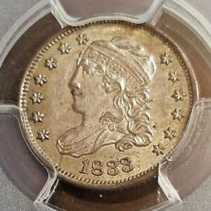 STUNNING DETAIL    1833 CAPPED BUST HALF 1/2 DIME  GRADED: PCGS MS 62
