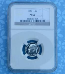 1963 NGC PROOF 67 ROOSEVELT SILVER DIME GEM PF 67 .10 CENT SILVER COIN