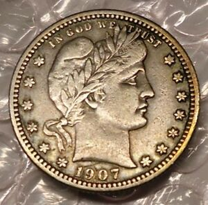 1907 S 25C BARBER QUARTER. ORIGINAL VF BUT SCRATCHED
