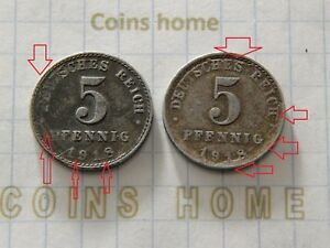 CINS HME CRACKED CLISCHE ERROR 1918 GERMANY 5 PFNGS SETRPE6 UNCERTIFIED
