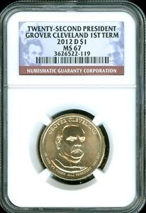 2012 D GROVER CLEVELAND 1ST TERM DOLLAR NGC MS67