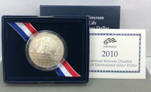 2010 AMERICAN VETERANS DISABLED FOR LIFE UNC SILVER DOLLAR COIN W/ BOX & COA