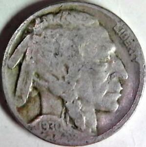 1930 BUFFALO NICKEL 5 CENTS. GOOD DETAIL OBVERSE AND REVERSE. 3002