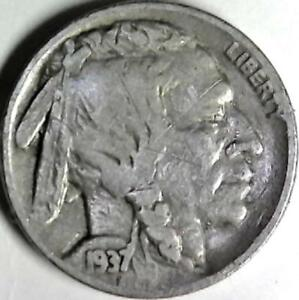 1937 BUFFALO NICKEL 5 CENTS. GOOD DETAIL OBVERSE AND REVERSE. 2955