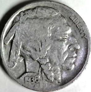 1936 BUFFALO NICKEL 5 CENTS. GOOD DETAIL OBVERSE AND REVERSE. 2961