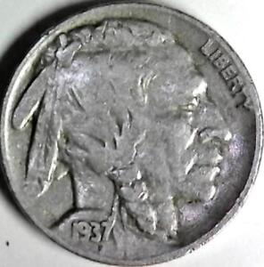 1937 BUFFALO NICKEL 5 CENTS. GOOD DETAIL OBVERSE AND REVERSE. 2957