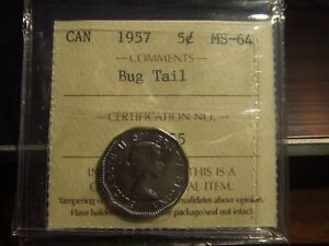 Click now to see the BUY IT NOW Price! CANADA FIVE CENTS  1957 BUGTAIL ICCS MS 64