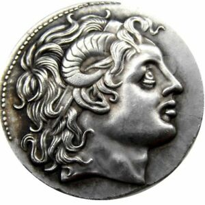 ANCIENT GREEK COIN  TETRADRACHM MACEDONIAN KING  415 BC METAL PLATED HISTORY
