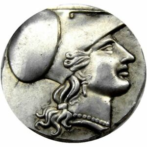 ANCIENT GREEK COLLECTIBLE COIN  415 TETRADRACHM ANTIQUE METAL PLATED KING