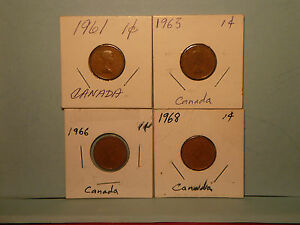 1961 1963 1966 1968 1 CANADIAN COINS