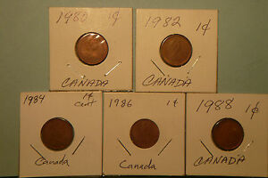 1980 1982 1984 1986 1988 CANADIAN 1 CENT CIRCULATED COINS