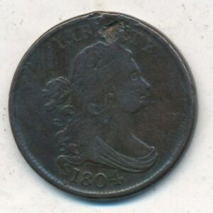 1804 DRAPED BUST HALF CENT SPIKED CHIN VERY NICE CIRCULATED HALF CENT SHIPS FREE