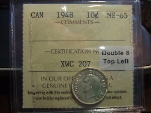 Click now to see the BUY IT NOW Price! CANADA SILVER 10 CENT 1948 ICCS MS 65       DOUBLE 8