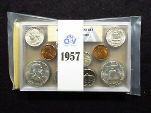 Click now to see the BUY IT NOW Price! 1957 US MINT DOUBLE MINT SET ANACS GRADED OSV TYPE B REV QUARTER/ DIE CHIP CENTS