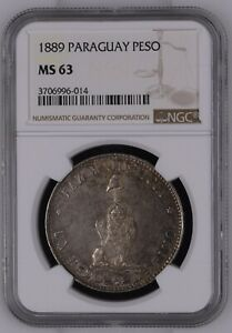 Click now to see the BUY IT NOW Price! PARAGUAY 1 PESO 1889. NGC MS 63. TONED OBVERSE.