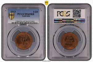 Click now to see the BUY IT NOW Price! AUSTRALIA HALF PENNY 1913 PCGS 65 RB HIGHEST GRADED POPULATION 1 OF 1