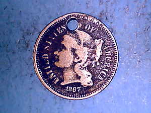 1867 NICKEL THREE CENT PIECE IN   GOOD CONDITION