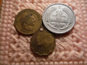 CHILE PERU PARAGUAY 1 CONDOR 1958 20 CENTAVOS 1953 15 CENTIMOS 1953 LOT OF 3