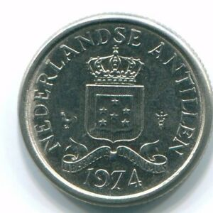 1974 NETHERLANDS ANTILLES 10 CENT NICKEL COLONIAL COIN S13507