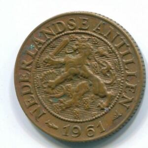 1961 1 CENT NETHERLANDS ANTILLES BRONZE FISH  COLONIAL COIN S11061