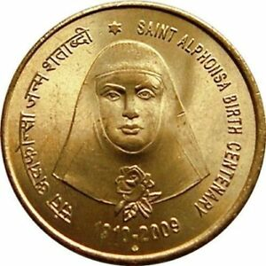 INDIA REPUBLIC 5 RUPEES 2009 ST. ALPHONSA 100TH ANNIVERSARY UNCIRCULATED COIN
