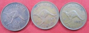 3 OLD AUSTRALIA COINS LARGE PENNIES