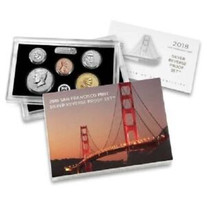 2018 10 COIN COMPLETE   SILVER REVERSE PROOF SET  WITH ERROR KENNEDY LT FROST