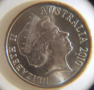 2010 ERROR 5 CENT ECHIDNA UNCIRCULATED 5 CENT QUEEN'S HAIR CUD EX BAG IN 2X2