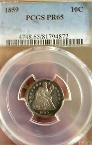 1859 10C PROOF LIBERTY SEATED DIME PCGS PR65