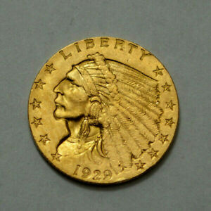 1929 P   $2.5 INDIAN HEAD QUARTER EAGLE US GOLD COIN $2 1/2