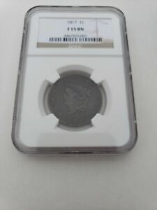 1817 LARGE CENT 13 STAR OBVERSE NGC F15