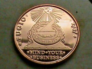 1787 FUGIO COLONIAL FIRST CENT DESIGN ON 1 OZ. COPPER ROUND SILVER DOLLAR SIZE