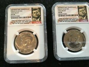 Click now to see the BUY IT NOW Price! 2014 P & D KENNEDY 50TH ANNIVERSARY NGC SP69 CLAD HIGH RELIEF HALF DOLLAR SET