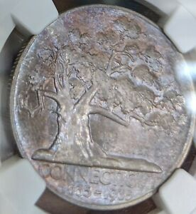 1935 NGC MS67 CONNECTICUT COMMEMORATIVE SILVER HALF DOLLAR MONSTER TONING COLOR