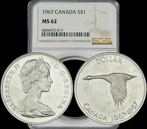 Click now to see the BUY IT NOW Price! 1967 CANADA ELIZABETH II SILVER DOLLARS NGC MS62 BLAST WHITE GEM