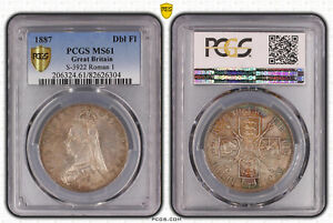 Click now to see the BUY IT NOW Price! 1887 GREAT BRITAIN DOUBLE FLORIN PCGS MS61 S 3922 ROMAN I
