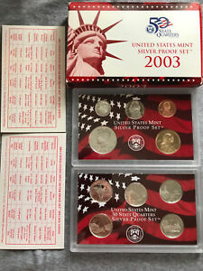 2003 S PROOF 10 PIECE SILVER MINT SET WITH ERROR COA