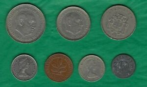 LOT OF 6 FOREIGN COINS AND ONE TOKEN