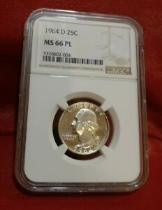 Click now to see the BUY IT NOW Price! 1964 D WASHINGTON QUARTER NGC MS66 PL PROOFLIKE TOP POP STAR COIN CAMEO CONTRAST