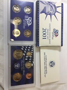 2001 PROOF 10 PIECE SET  50 STATE QUARTERS  UNITED STATES MINT SET