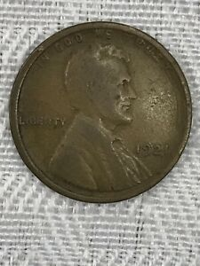 SLIGHTLY OFF CENTER 1921 LINCOLN WHEAT CENT PENNY