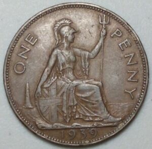 GREAT BRITAIN  UK 1939  ONE PENNY  COIN LG1019