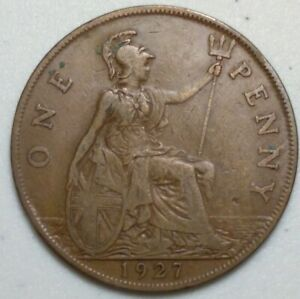 GREAT BRITAIN  UK 1927  ONE PENNY  COIN LG1017