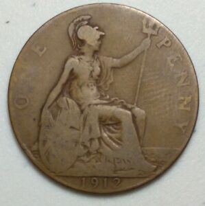 GREAT BRITAIN  UK 1912  ONE PENNY  COIN LG1013