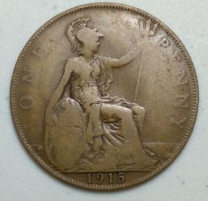 GREAT BRITAIN  UK 1915  ONE PENNY  COIN LG1012